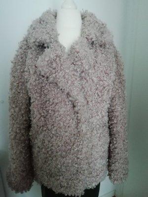 Giacca in eco pelliccia rosa antico