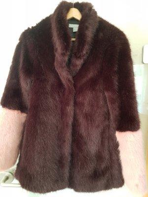 H&M Futrzana kurtka bordo-różowy Wiskoza
