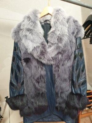 Futrzana kurtka szary niebieski-ciemnoniebieski