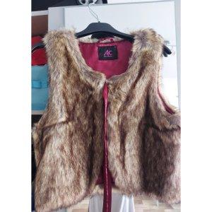 Ann Christine Fur Jacket light brown-raspberry-red