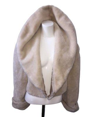 Vintage Futrzana kurtka w kolorze białej wełny-kremowy