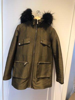 Mango Fur Jacket khaki