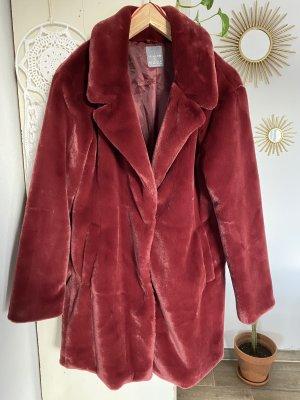 Primark Fake Fur Coat dark red-carmine
