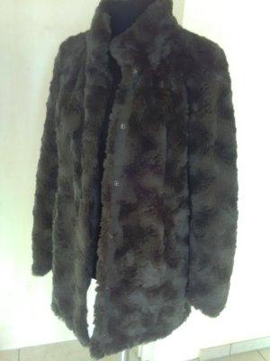 Vero Moda Abrigo de piel sintética negro-gris verdoso