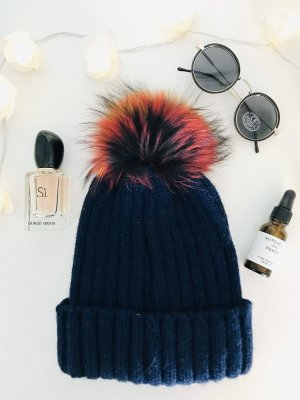 Fur Hat red-dark blue fur