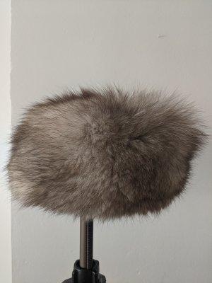 Futrzana czapka brązowy-kremowy
