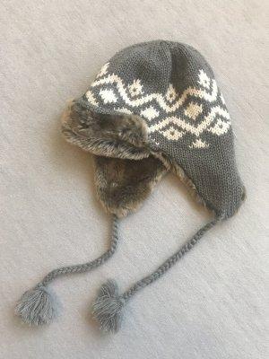 Fellmütze grau-weiß Norweger-Strick
