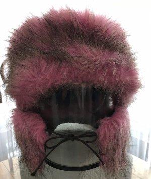 Futrzana czapka różowy-jasnobrązowy