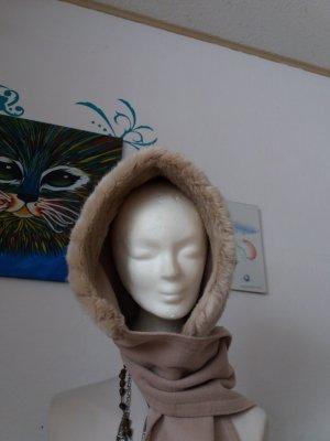 Bufanda con capucha beige