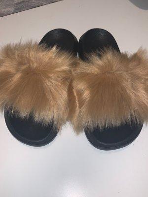Fellpantoletten Schlappen Pantoffeln Gr.38 NEU