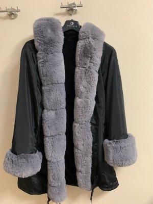 Giacca di pelliccia grigio-nero