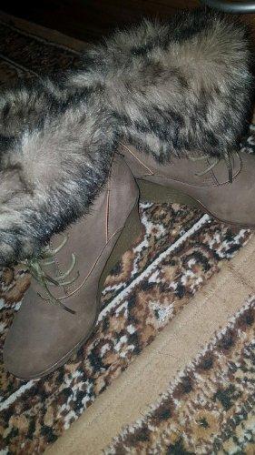 Botas de cuña marrón claro-color bronce
