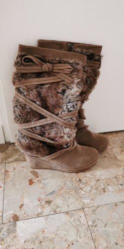 Deichmann Futrzane buty brązowy