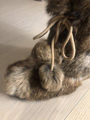 ASH Bottes fourrées gris brun tissu mixte