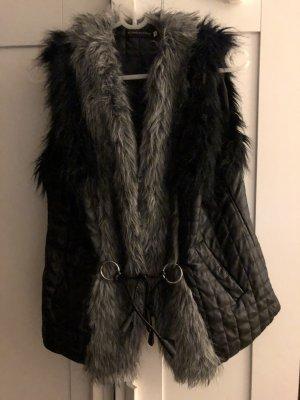 Fur vest black-dark grey