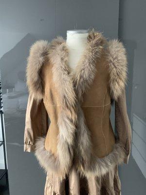 ibiza gypsy Fur vest cognac-coloured