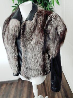 Fur vest black-silver-colored
