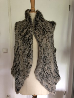 Fur vest light brown-grey brown pelt