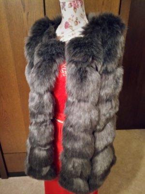 Fur vest dark grey cotton