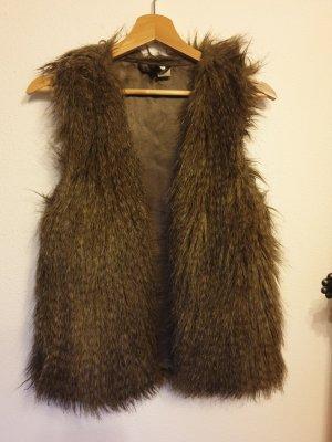 H&M Divided Fur vest light brown polyester