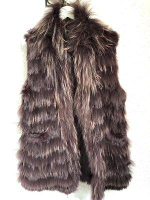 Oakwood Smanicato di pelliccia marrone scuro-marrone-rosso Pelliccia