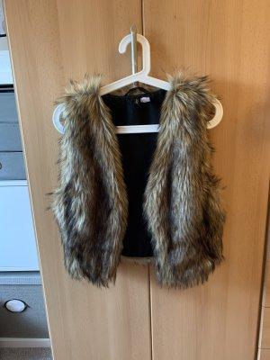 H&M Fur vest dark brown-brown