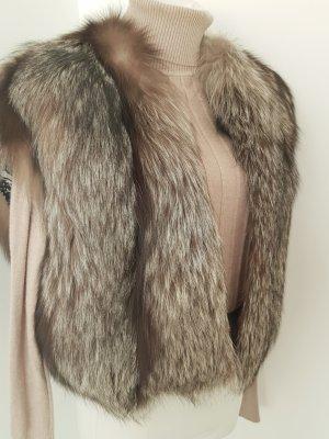 Smanicato di pelliccia nero-marrone-grigio