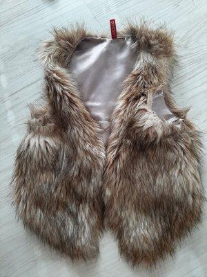 H&M Divided Kamizelka ze sztucznym futrem jasnobrązowy-brązowy