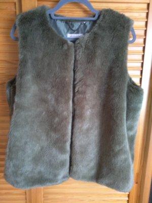 Amaryllis Fur vest khaki mixture fibre