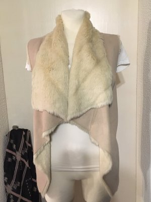 Bandolera Futrzana kamizelka w kolorze białej wełny-kremowy