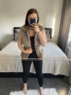 Fur vest beige-grey