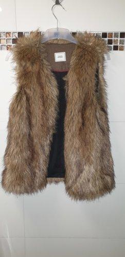 Pimkie Kamizelka ze sztucznym futrem czarny-brąz