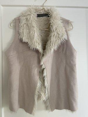 Zara Fur vest natural white
