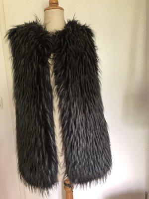 Fur vest anthracite-black