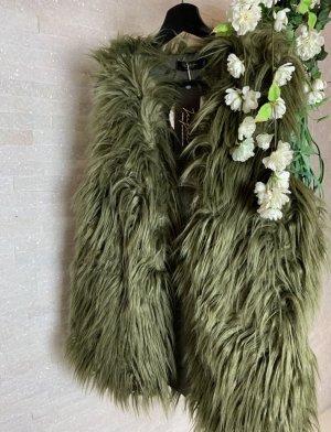 keine Fur vest olive green