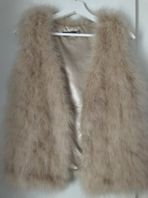 Hallhuber Donna Smanicato di pelliccia giallo chiaro-beige