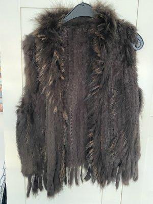 Fur vest black brown-dark brown