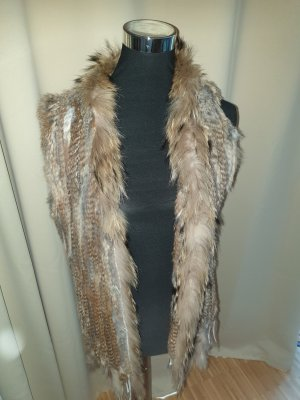 Fur vest bronze-colored-grey brown