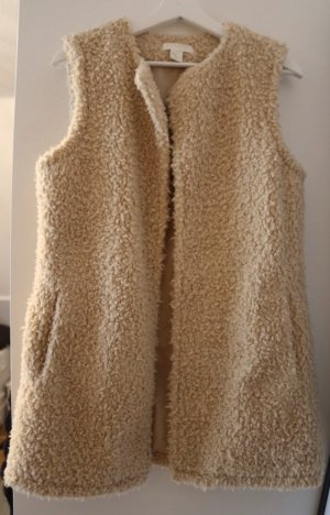 H&M Smanicato di pelliccia beige