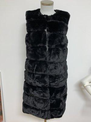 Veste en fourrure noir polyester