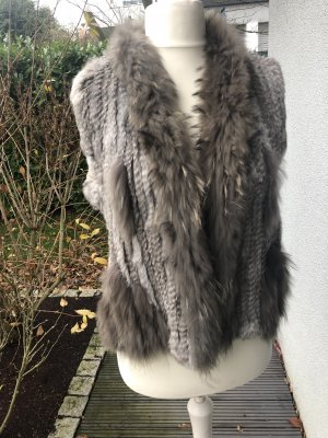 Mauritius Fur vest grey-light grey