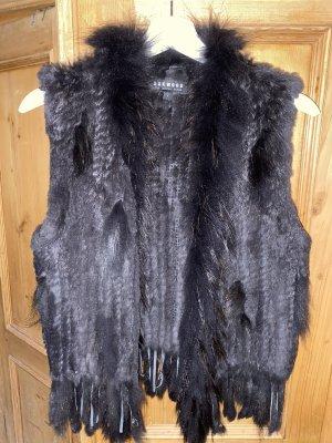 Oakwood Futrzana kamizelka czarno-brązowy-ciemnobrązowy