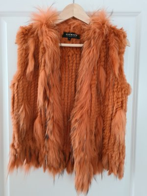 Oakwood Gilet en fourrure orange-orange foncé