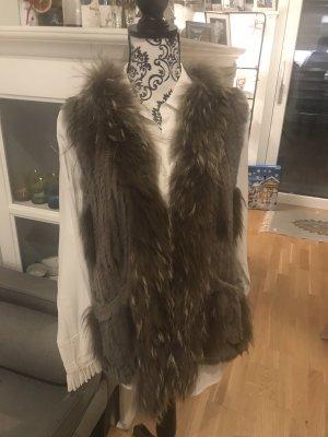 Oakwood Fur vest grey brown-light brown