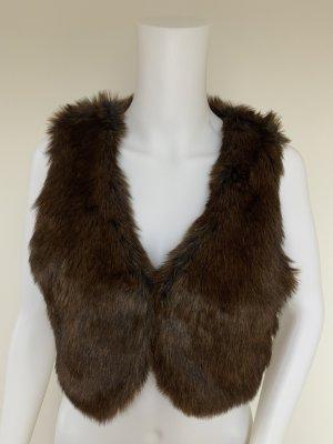 H&M Kamizelka ze sztucznym futrem brązowy