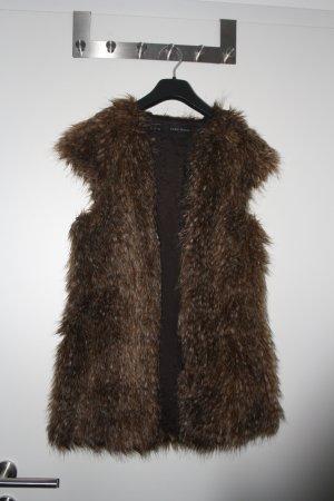Zara Outerwear Smanicato di pelliccia multicolore Poliestere