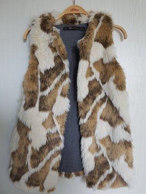 Zara Fake Fur Vest light brown-natural white
