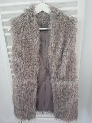 Zara Basic Fur vest silver-colored polyester
