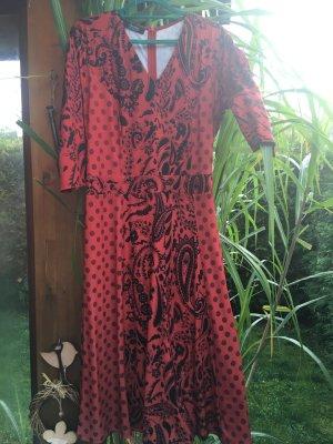 Aniston Abito midi nero-rosso scuro