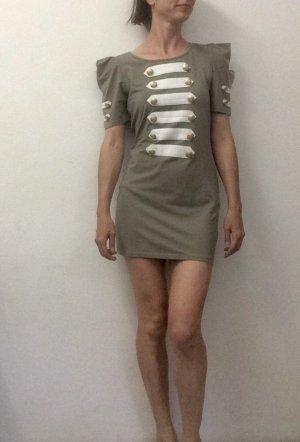 AX Paris Sukienka z dżerseju khaki-w kolorze białej wełny